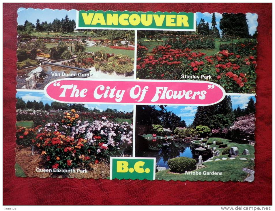 City of Flowers - Queen Elizabeth park, Nitope Gardens, Stanley park - Vancouver - British Columbia - Canada - unused - JH Postcards