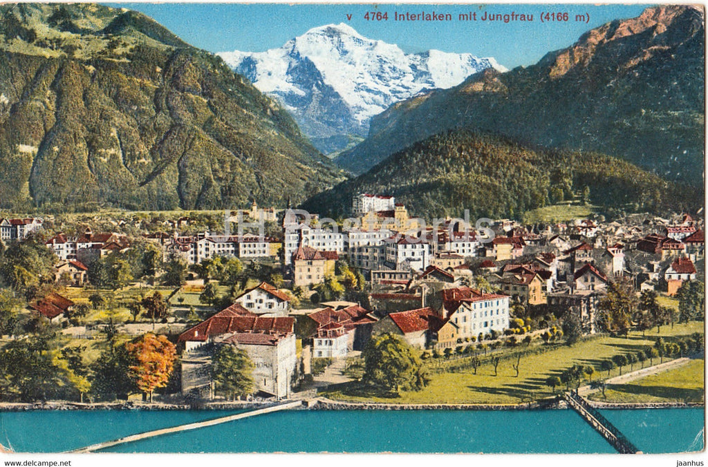 Interlaken mit Jungfrau 4166 m - 4764 - old postcard - 1947 - Switzerland - used - JH Postcards