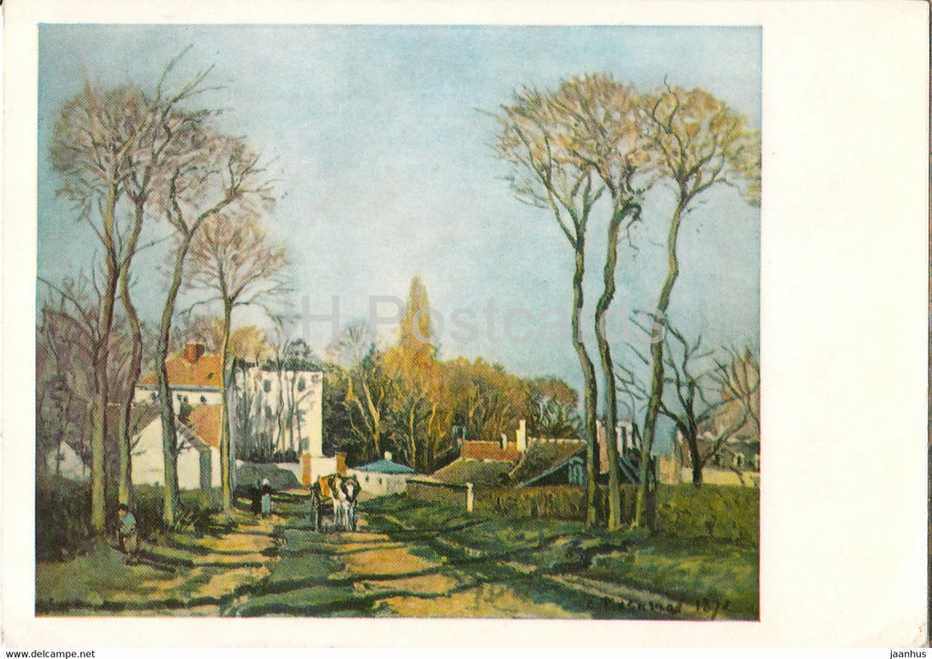 painting by Camille Pissarro - Weg in ein Dorf - The lane through the village - French art - Germany DDR - unused - JH Postcards