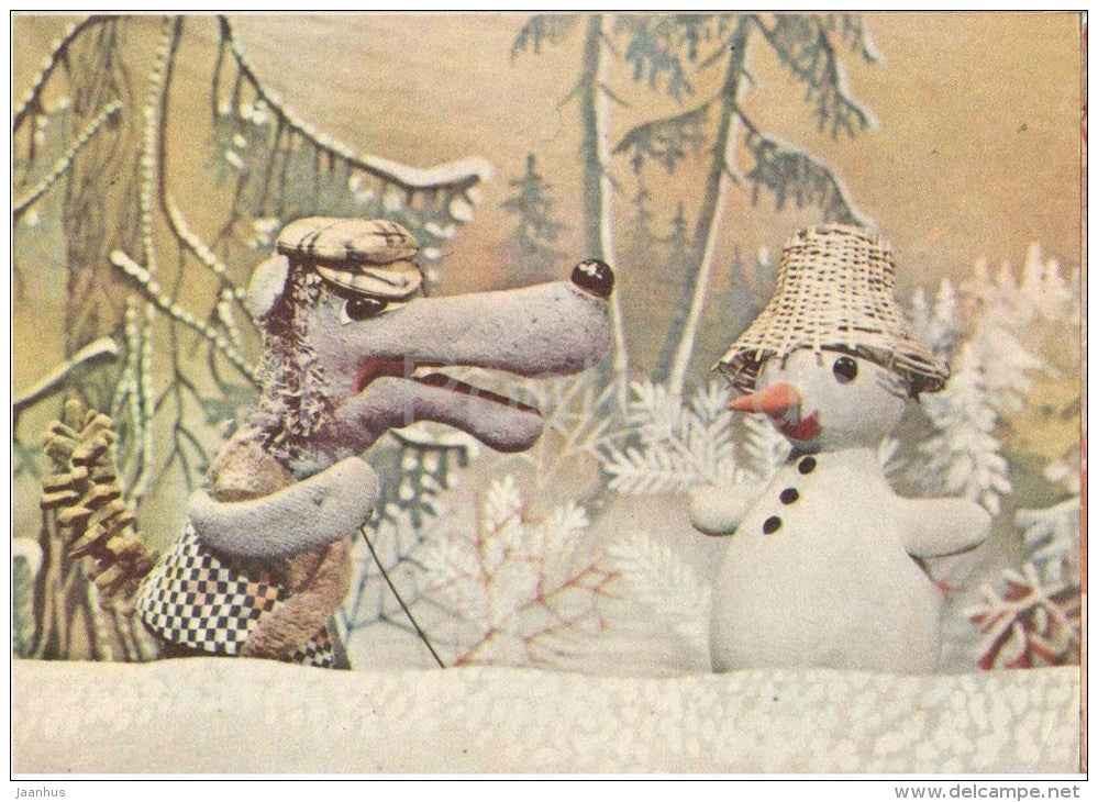 New Year Greeting card - 1 - puppetry - snowman - wolf - 1978 - Estonia USSR - unused - JH Postcards