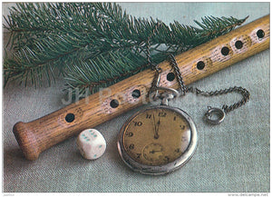 New Year Greeting card - 1 - die - watch - flute - 1986 - Estonia USSR - used - JH Postcards