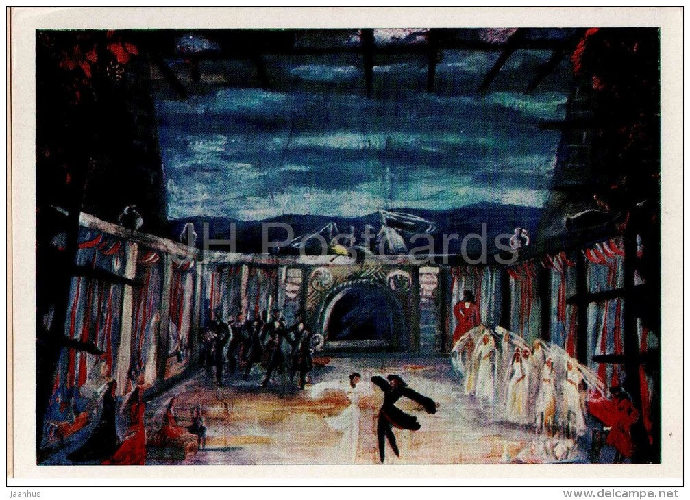 painting by C. Virsaladze - Set design for the ballet Heart of the Mountains , 1938 - theatre - georgian art - unused - JH Postcards