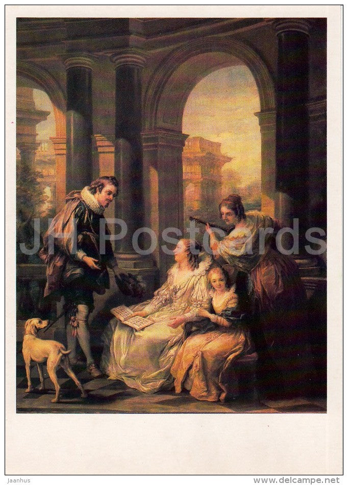 painting by Charles-Andre van Loo - Spanish Concert - music - dog - French art - Russia USSR - 1986 - unused - JH Postcards