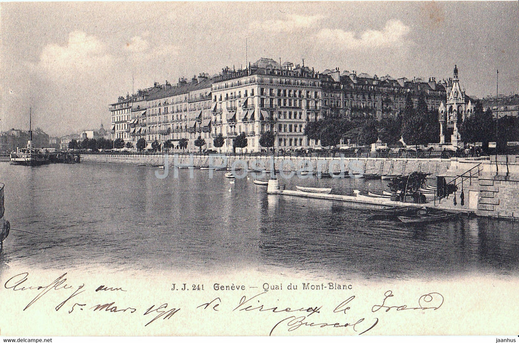Geneve - Geneva - Quai du Mont Blanc - 241 - old postcard - 1911 - Switzerland - used - JH Postcards