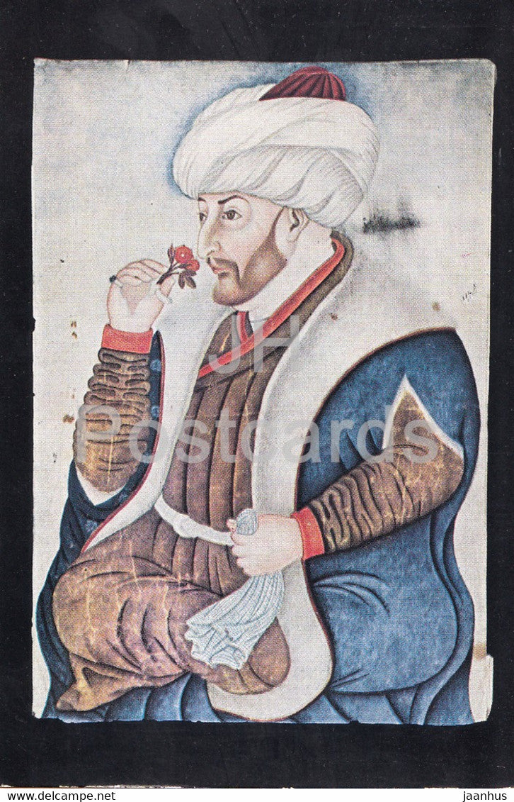 Sultan Mehmet the Conqueror , aquarelle by the painter Sinan - Turkish art - Turkey - unused - JH Postcards