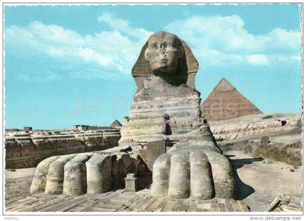 The Great Sphinx of Giza and Pyramids - 507  - El Giza - Cairo - old postcard - Egypt - unused - JH Postcards