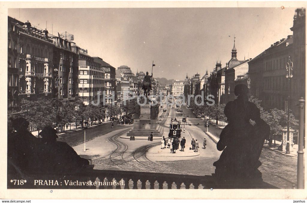 Praha - Prague - Vaclavske namesti - tram - 718 - old postcard - 1934 - Czech Republic - used - JH Postcards