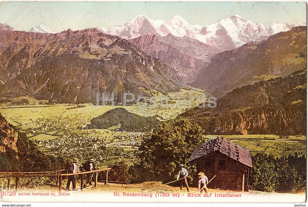 St Beatenberg 1150 m - Blick auf Interlaken - 3028 - old postcard - 1912 - Switzerland - used - JH Postcards