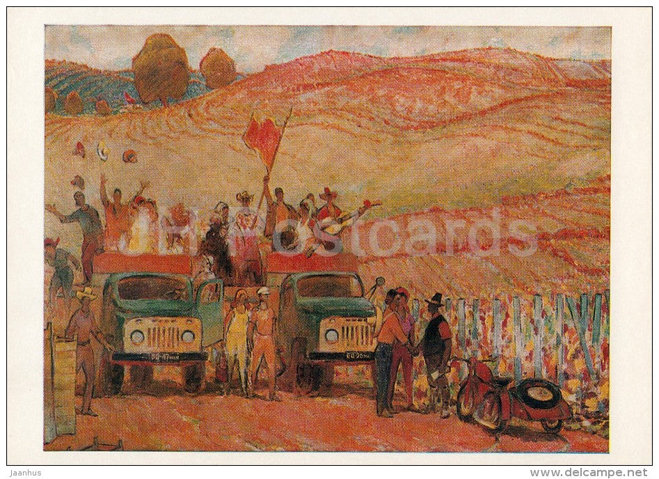 painting by I. Zhumatiy - Student squad , 1974 - ZIL truck - motorbike - Moldavian art - Russia USSR - 1978 - unused - JH Postcards