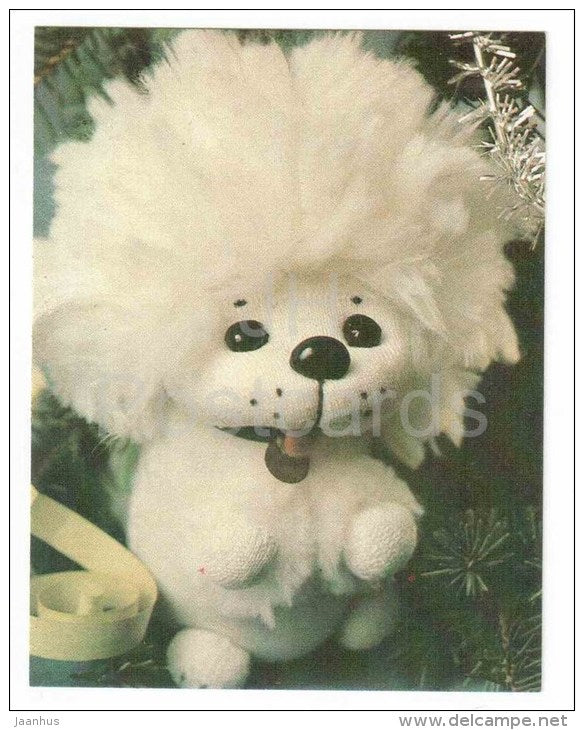 New Year Mini Greeting Card - white dog - doll - 1989 - Russia USSR - unused - JH Postcards
