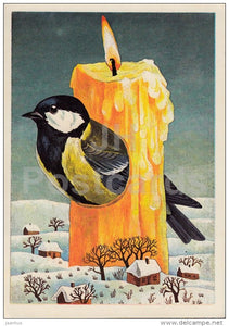 New Year Greeting card by J. Tammsaar - tit - bird - candle - houses - 1986 - Estonia USSR - used - JH Postcards