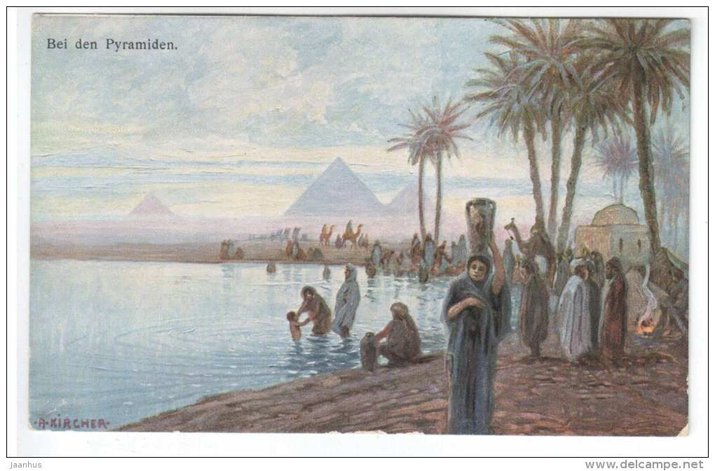 illustration by A. Kircher - Bei den Pyramiden - pyramids - camel - K. & B. D. 1485 - Egypt - old postcard - unused - JH Postcards