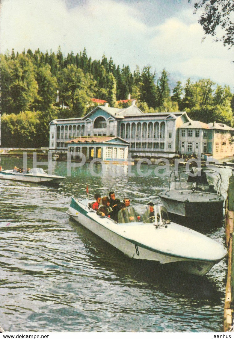 Lake Ritsa - Abkhazia - motor boat - Georgia - USSR - used - JH Postcards