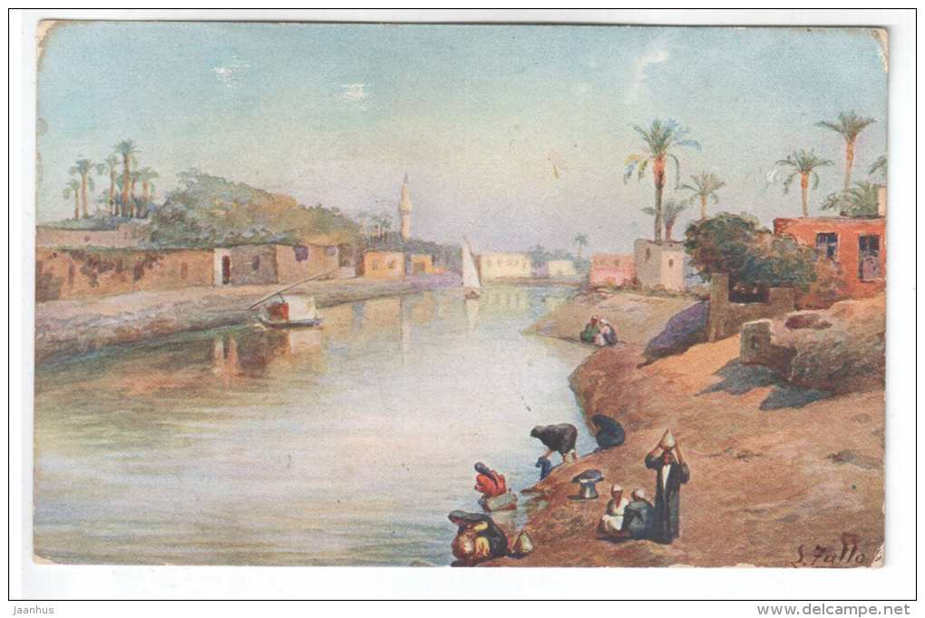 illustration by L. Zullo - arab women - river - boat - 1944 - Egypt - old postcard - used - JH Postcards