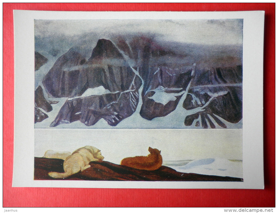 painting by Rockwell Kent - Dogs in Kangerdlugssuaq Fjord . Greenland . 1932-1933 - art of USA - unused - JH Postcards