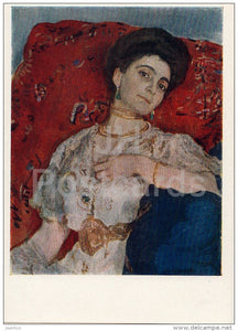 painting by V. Serov - Portrait of Akimova - woman - Russian art - 1959 - Russia USSR - unused - JH Postcards