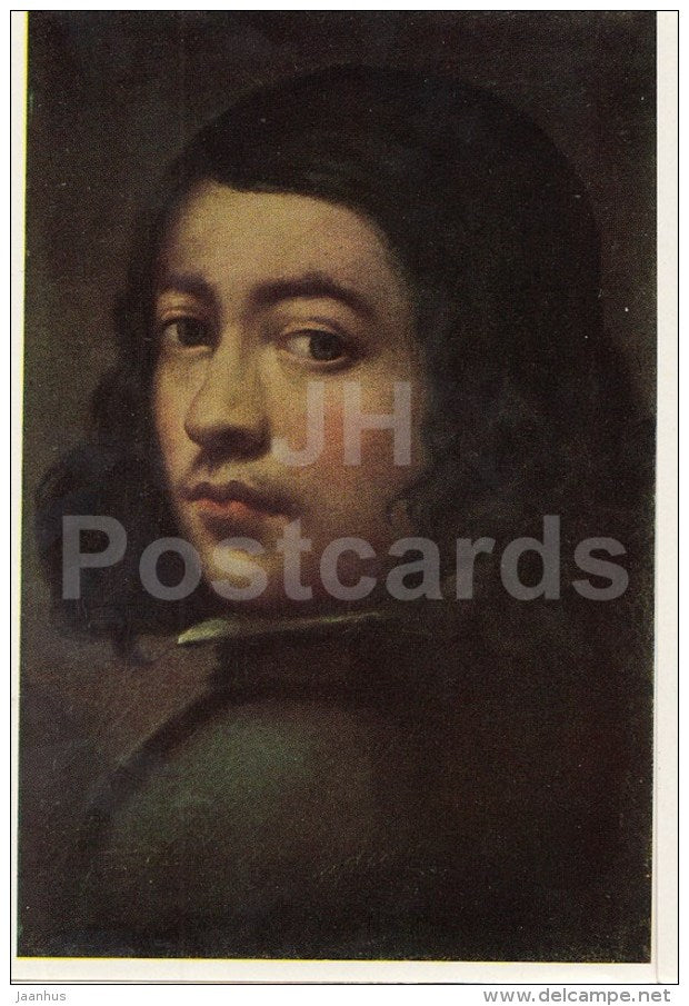 painting by Pedro de Moya - Portrait of a Young Man - Spanish Art - 1963 - Russia USSR - unused - JH Postcards