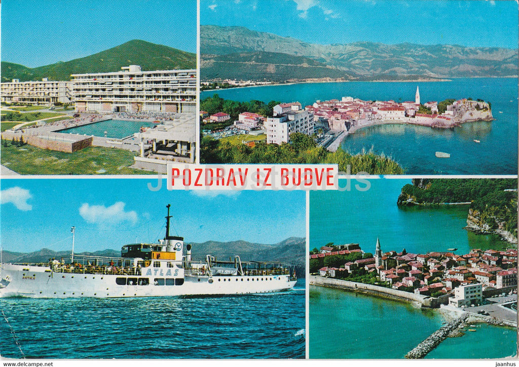 Pozdrav iz Budve - Budva - town view - ship Atlas - hotel International - 2654 - Yugoslavia - Montenegro - used - JH Postcards