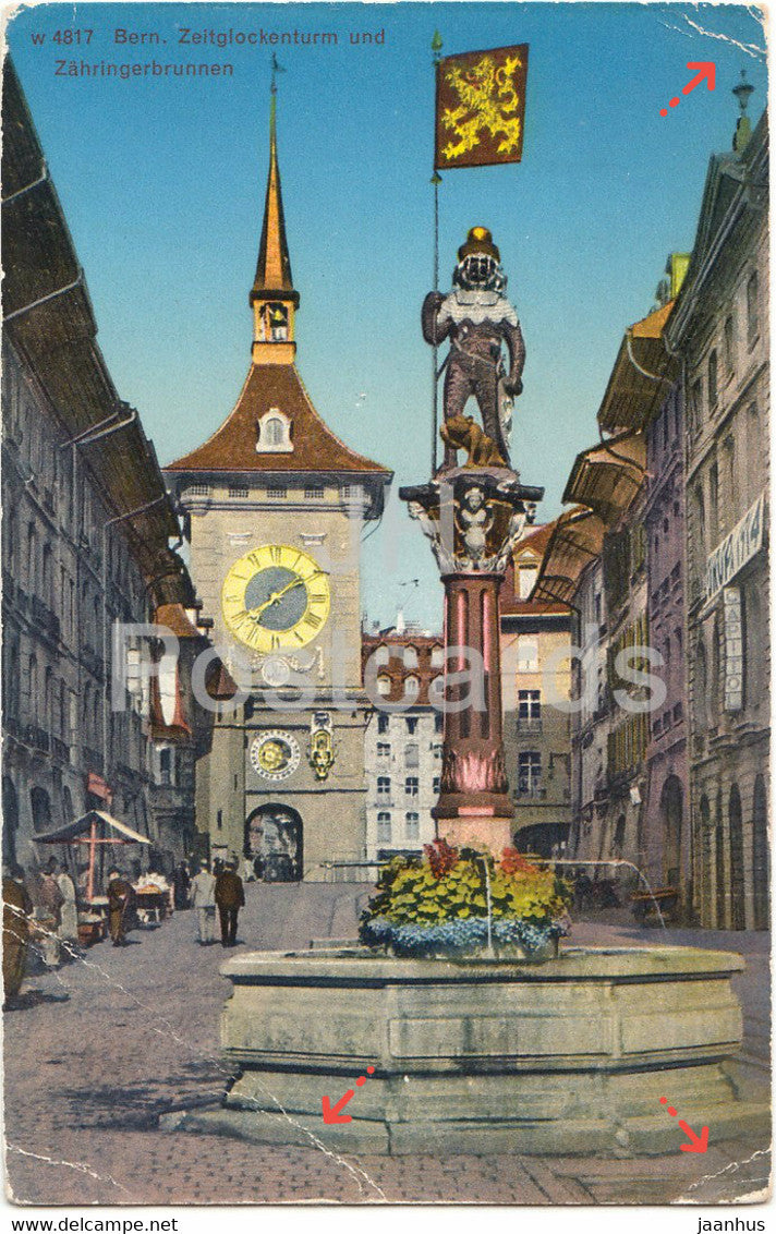Bern - Berne - Zeitglockenturm und Zahringerbrunnen - 4817 - old postcard - Switzerland - unused - JH Postcards