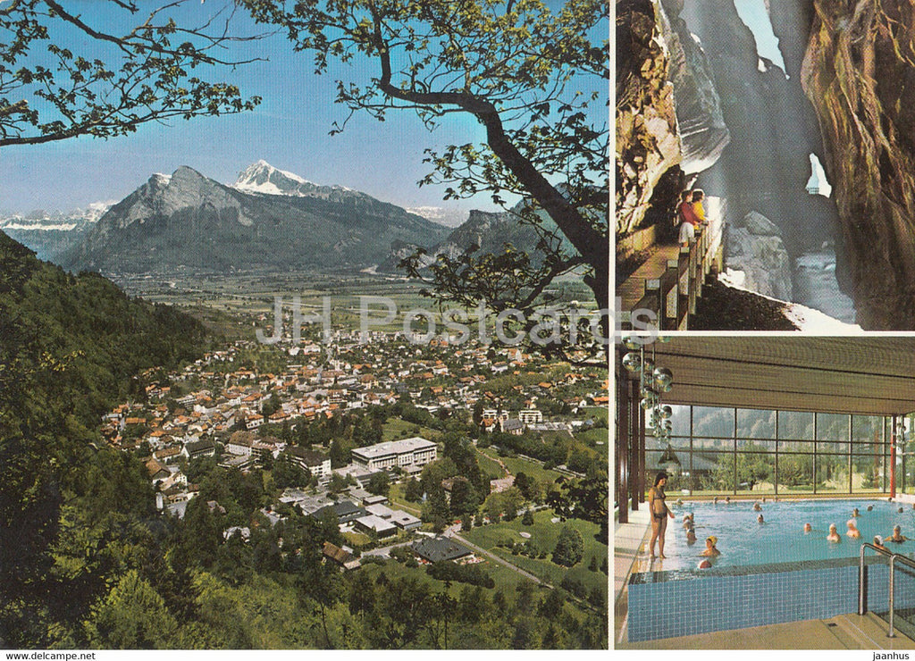 Bad Ragaz - Churfirsten - Gonzen - Alvier - Taminaschlucht - Thermalschwimmbad - pool - 1980 - Switzerland - used - JH Postcards