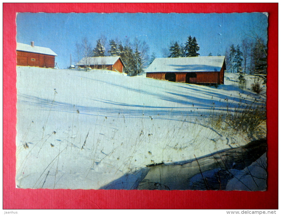 winter view - farm - buildings - 1240/6 - Finland - circulated in Finland - JH Postcards