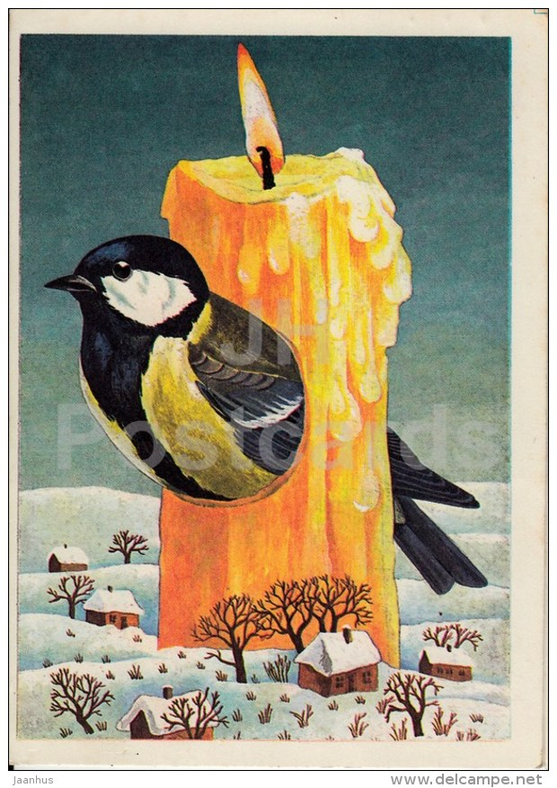 New Year Greeting card by J. Tammsaar - 1 - tit - bird - candle - houses - 1986 - Estonia USSR - used - JH Postcards