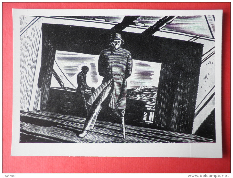 illustration by Rockwell Kent - Herman Melville novel , Moby Dick . 1929 - art of USA - unused - JH Postcards