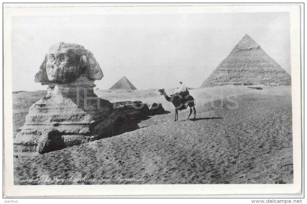 The Great Sphinx with Pyramids - camel - El Giza - Cairo - old postcard - Egypt - unused - JH Postcards