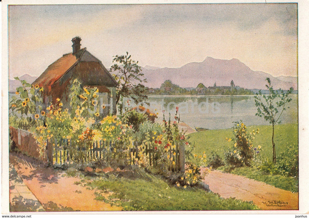 painting by Max Martens - Am Chiemsee - 1637 - German art - Germany - unused - JH Postcards