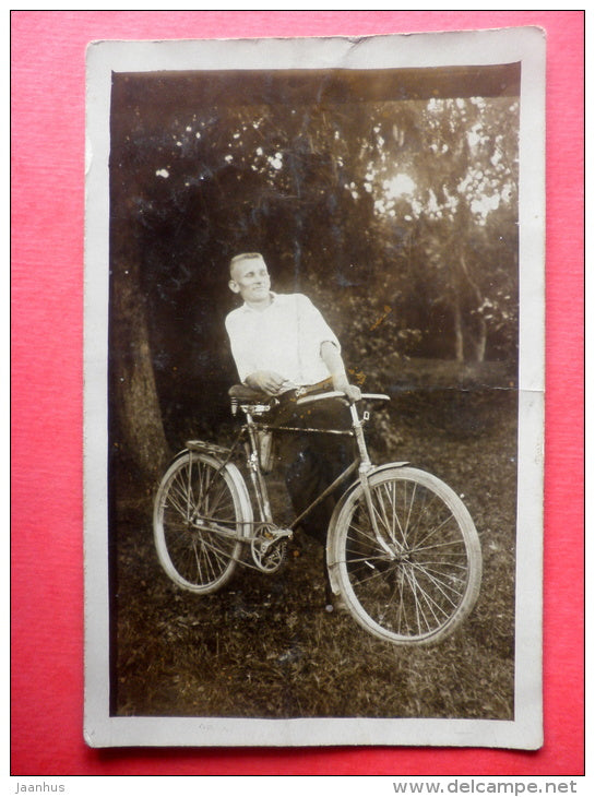 estonian man - bicycle - old photo postcard - 1934 - Estonia - used - JH Postcards
