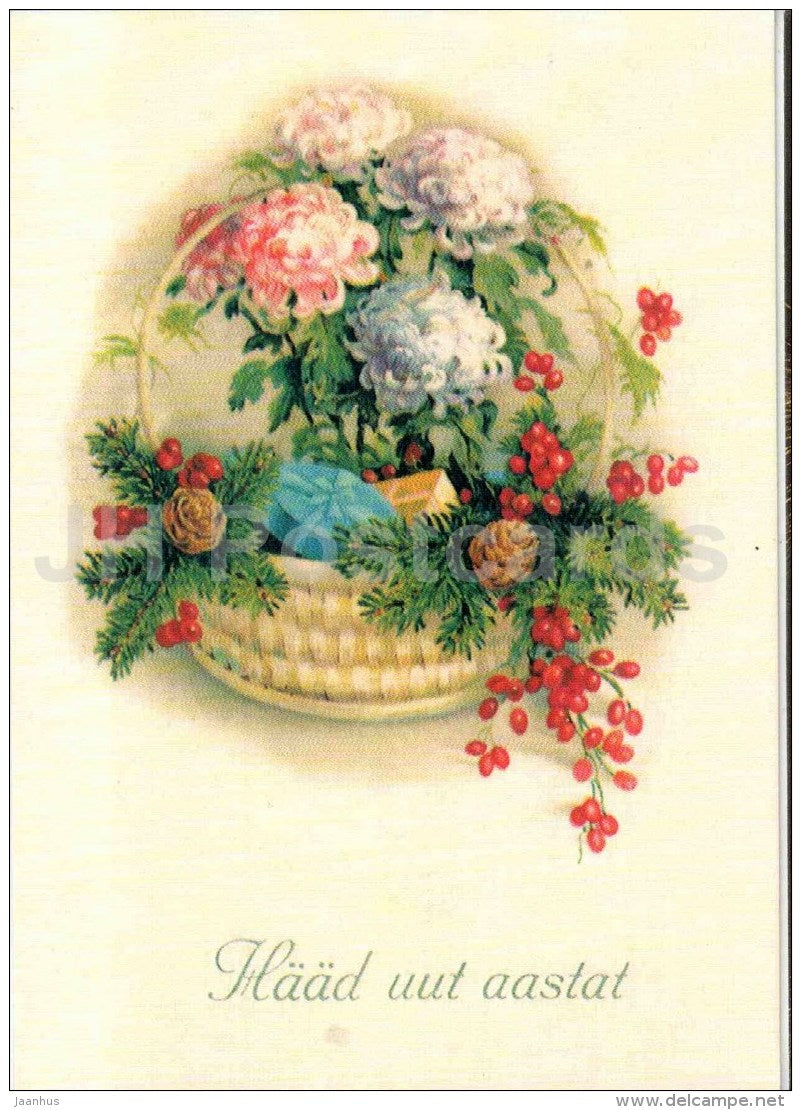 New Year Greeting Card - basket - flowers - berries - old postcard reproduction - Estonia - unused - JH Postcards