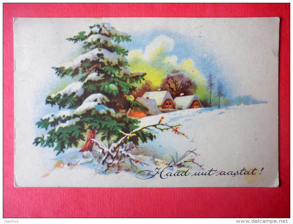 new year greeting card - winter - houses - tree - WO 1308 - circulated in Estonia Tallinn 1950 - JH Postcards