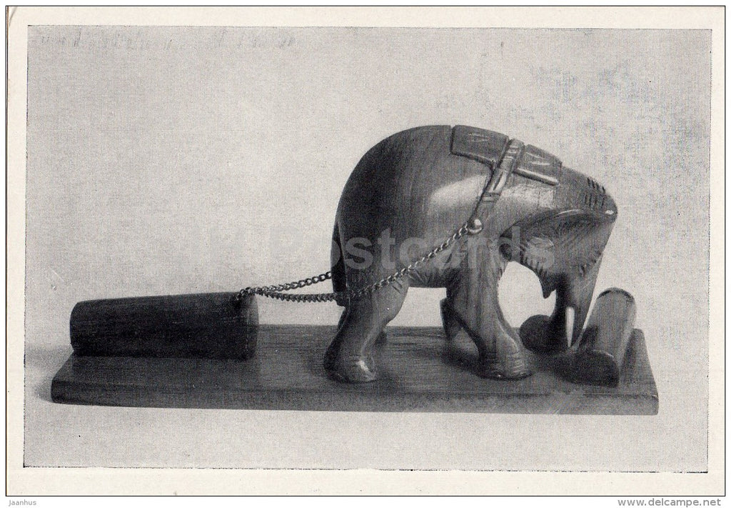 miniature sculpture from wood - Working Elephant - Burmese Art - 1964 - Russia USSR - unused - JH Postcards