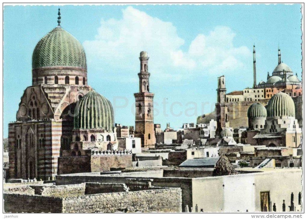The Mamelouk Tombs and Citadel - No. 35 - Cairo - old postcard - Egypt - unused - JH Postcards