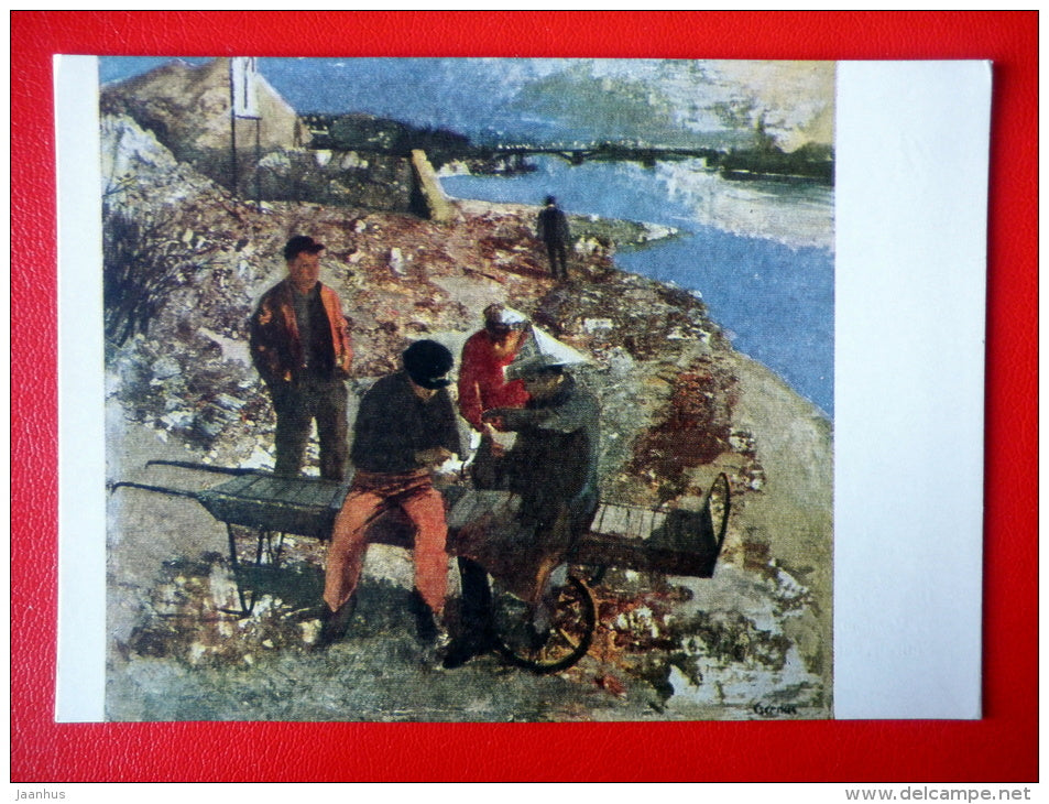 painting by T. Csernus . Ujpest Embankment - hungarian art - unused - JH Postcards