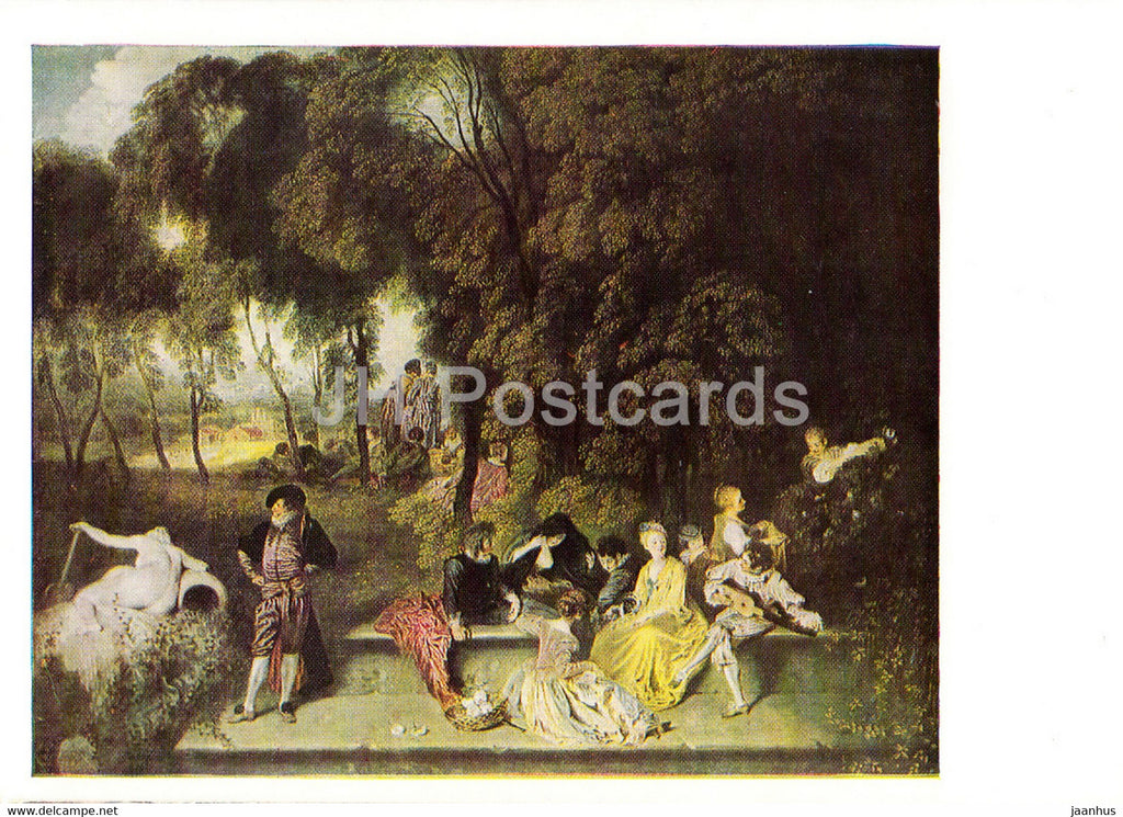 painting by Antoine Watteau - Gesellige Unterhaltung im Freien - 1452 - French art - Germany DDR - unused - JH Postcards