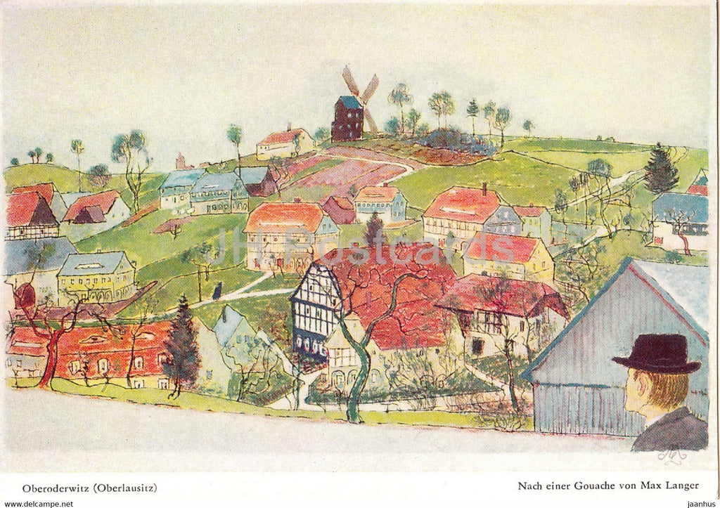 painting by Max Langer - Oberoderwitz - Oberlausitz - German art - Germany - unused - JH Postcards