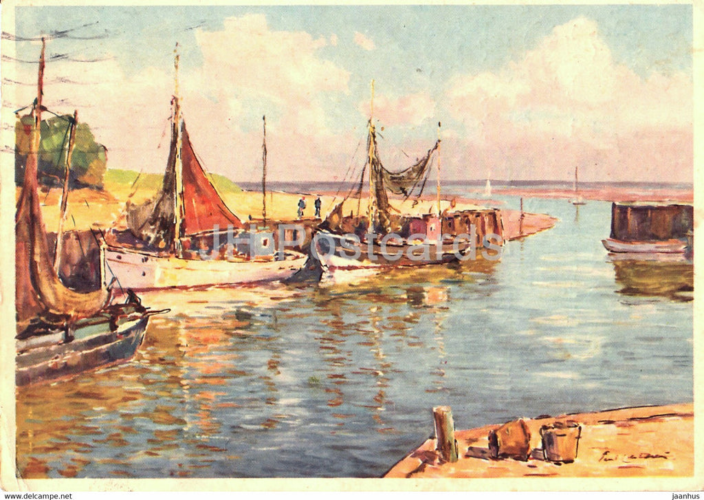 painting by Paul Ernst Wilke - Im Kunstenhafen - sailing boat - Eduscho - German art - 1966 - Germany - used - JH Postcards