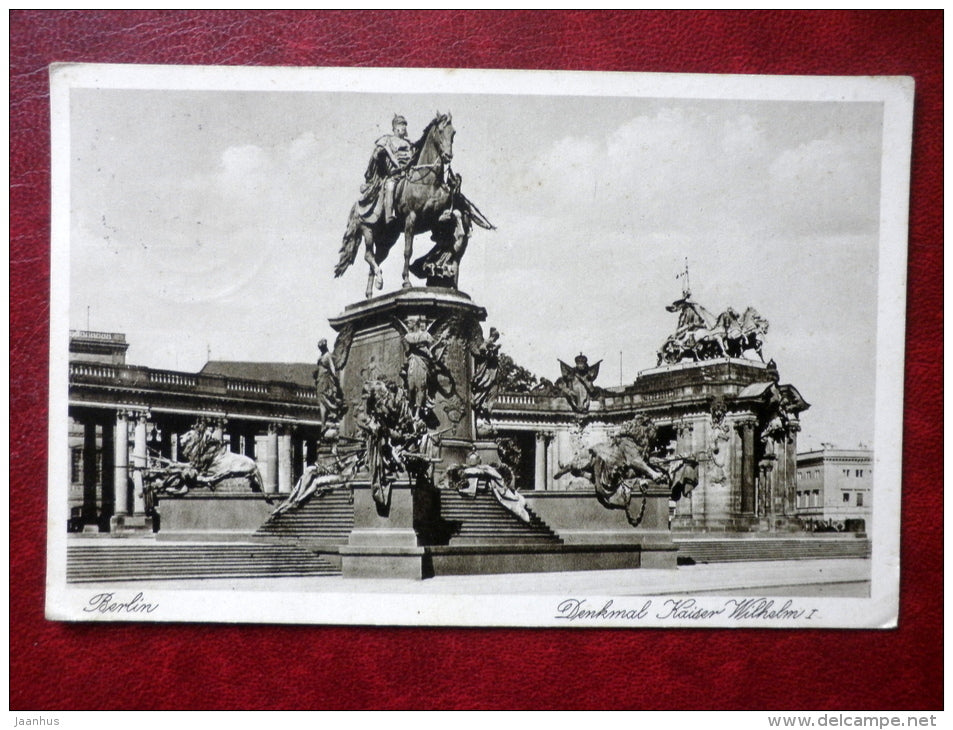 Denkmal Kaiser Wilhelm I Berlin - monument - Nr. 16 - circulated in 1939 - Germany - used - JH Postcards