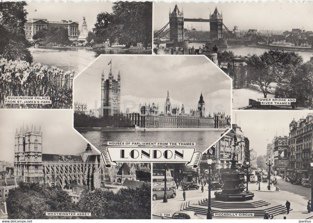 London - Houses of Parliament - Buckingham Palace - Tower Bridge - old postcard - 1958 - England - United Kingdom - used - JH Postcards