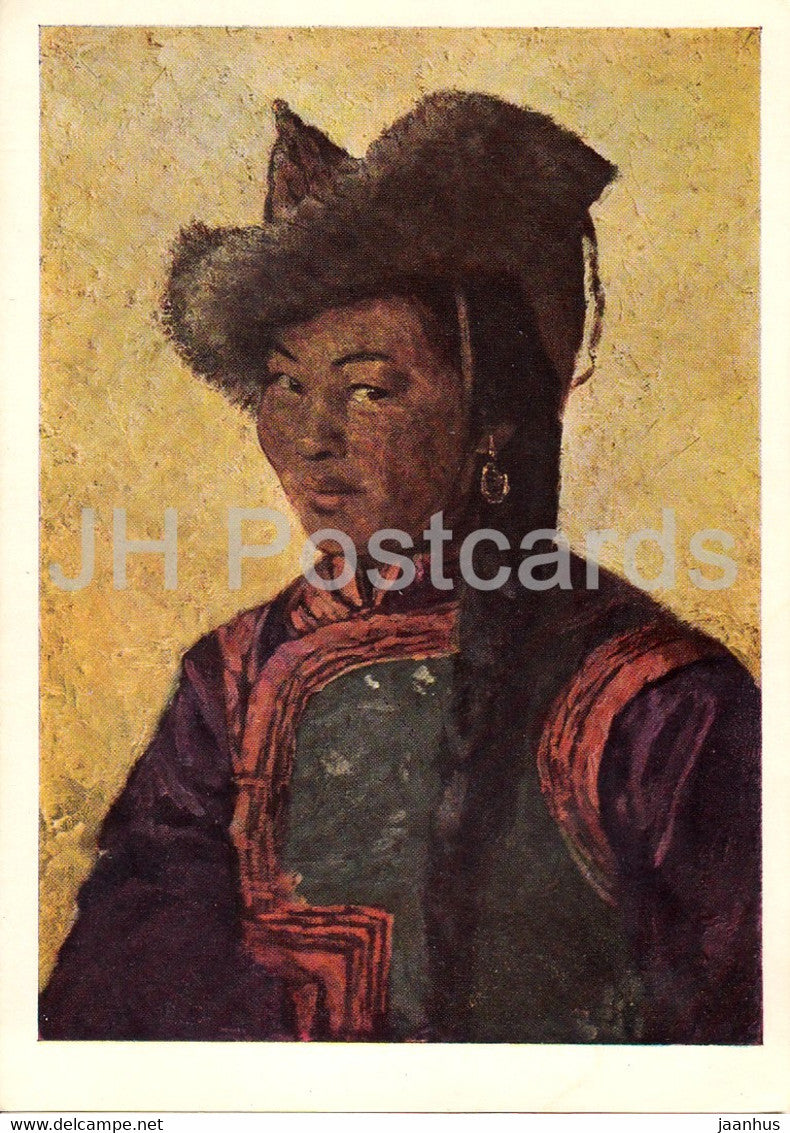 painting by A. Stroganov - Mongolian Woman - Mongolian art - 1966 - Russia USSR - unused - JH Postcards