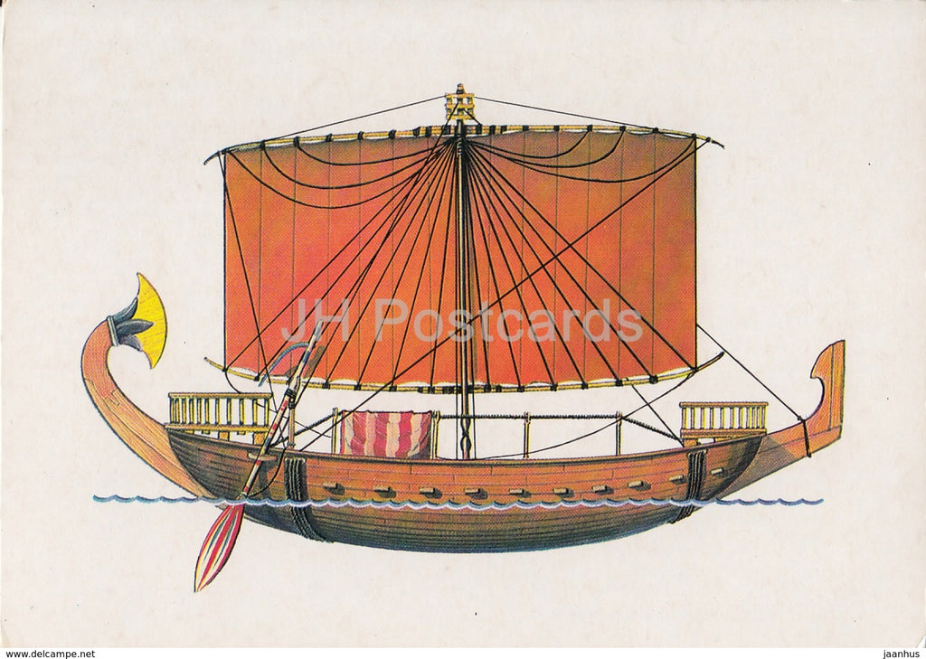seafaring merchant ship of Ancient Egypt - illustration - 1986 - Russia USSR - unused - JH Postcards