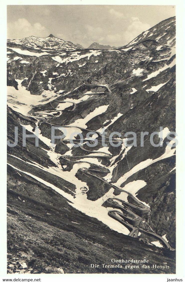 Gotthardstrasse - Die Tremola gegen das Hospiz - old postcard - Switzerland - unused - JH Postcards