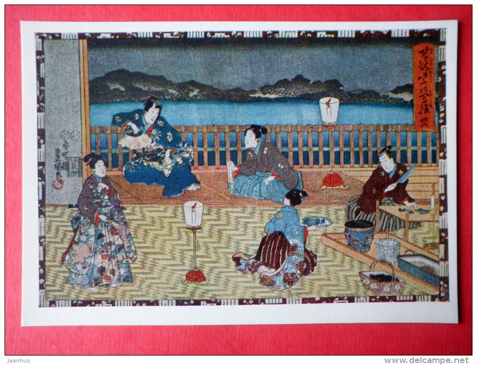 engraving by Utagawa Toyokuni - Scene on the Terrasse - Japanese colour print - japanese art - unused - JH Postcards