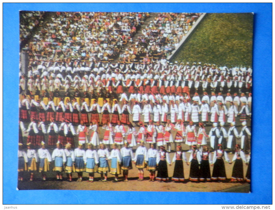 Estonian folk dancers 1 - folk costumes - dance festival - large format card - 1975 - Estonia USSR - unused - JH Postcards