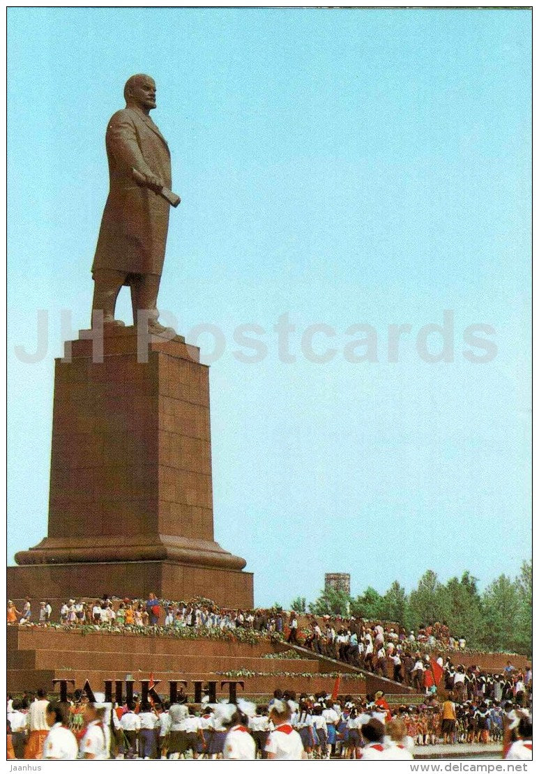 monument to Lenin in Lenin square - Tashkent - 1986 - Uzbekistan USSR - unused - JH Postcards