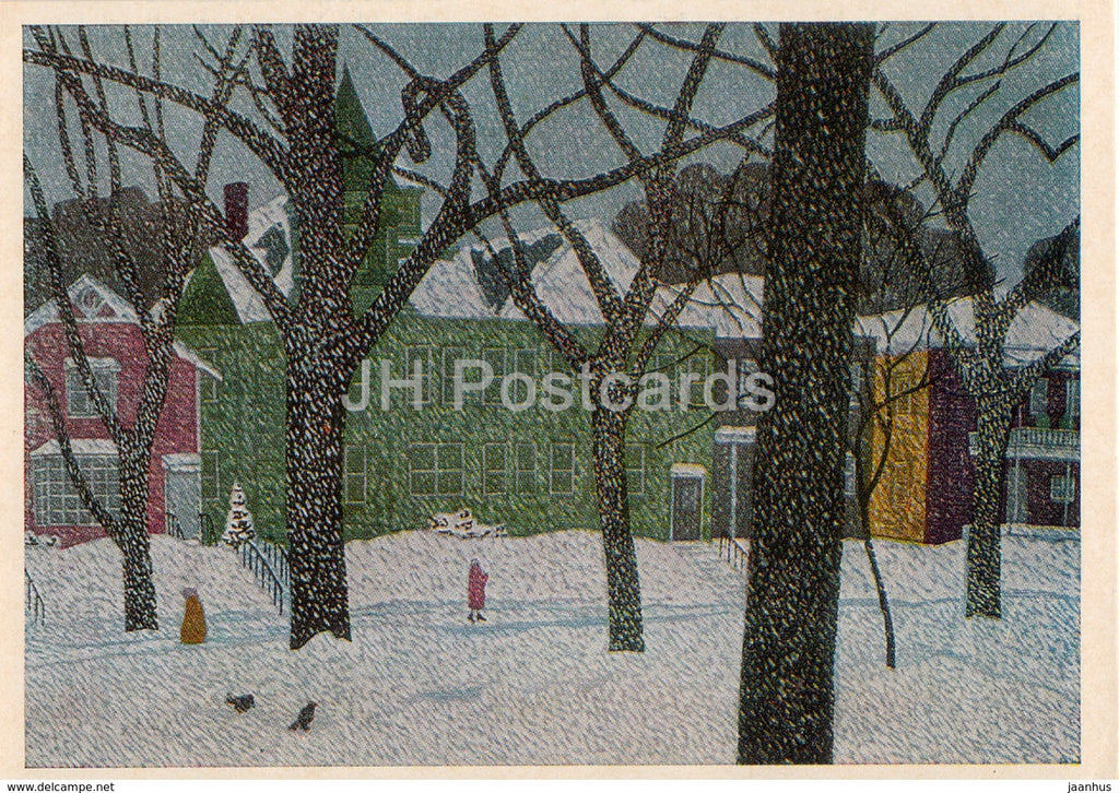 painting by Fumio Kitaoka - Winter view in America , 1966 - Japanese art - 1974 - Russia USSR - unused - JH Postcards