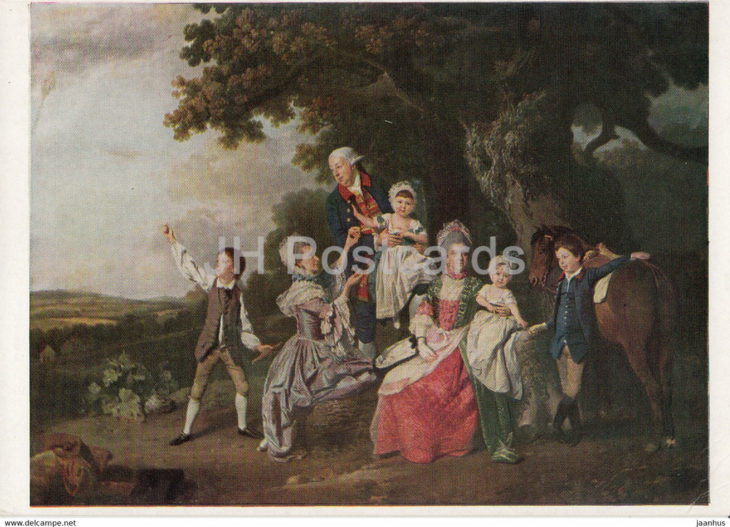 painting by Johann Zoffany - The Bradshaw Family - horse - German art - 1993 - Great Britain - unused - JH Postcards