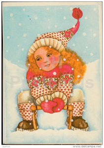 New Year Greeting card by V. Noor - girl - sledge - 1987 - Estonia USSR - used - JH Postcards