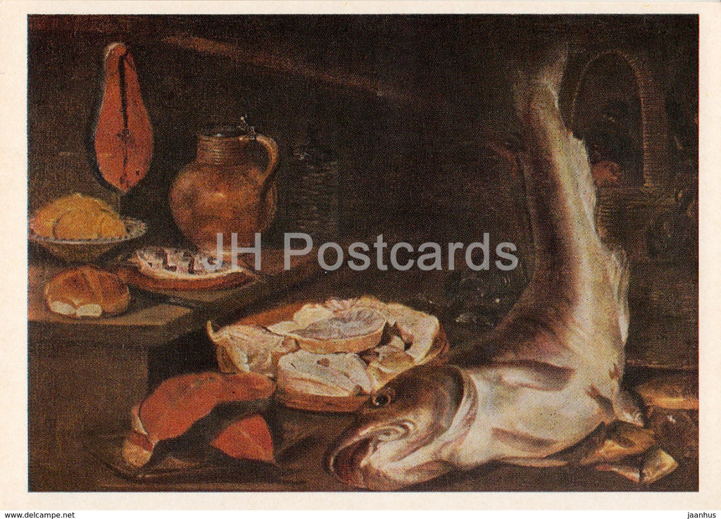 painting by Abraham van Beijeren - Still Life with Fish - Dutch art - 1974 - Russia USSR - unused